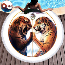 Peace by JoJoesArt Round Beach Towel Large for Adults Tigers Printed Mic... - $36.90
