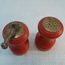Vintage Wooden Salt Shaker and Pepper Mill Red - $12.95