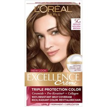 L'Oreal Excellence Creme Triple Protection Color - 5G Medium Golden Brown - $8.99