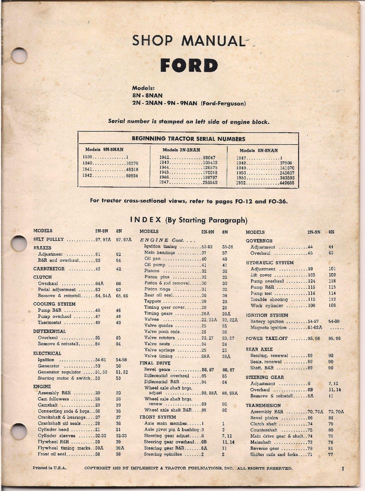 1953 Original Tractor Ford Ferguson I and T Shop Service Manual 2N 8N 9N No  FO