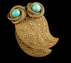 """Huge 3"""" Owl dress clip - vintage Bird fur clip - Figural jewelry - big eyed image 2"""