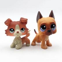 2pcs LPS Toys Rare Collie Dog #1542 #244 Brown Dane Dog Puppy Littlest P... - $19.97