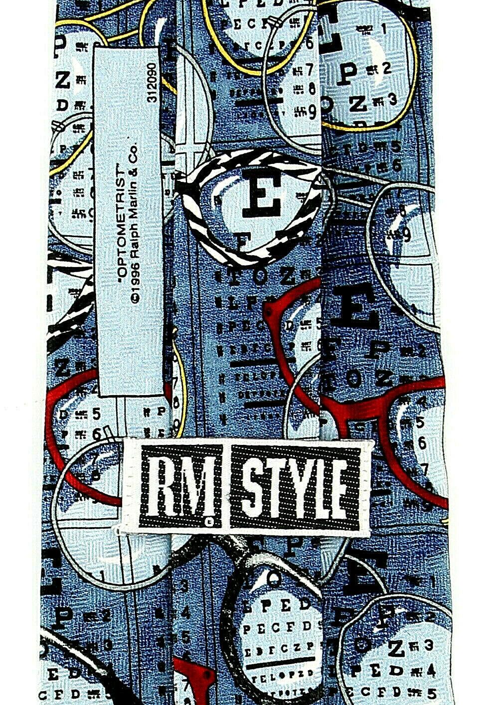 Optometrist Men's Neck Tie Ralph Marlin Eye Doctor Eyeglasses Silk Blue Neck Tie