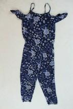 Old Navy Girls Romper Size 6-7 Blue Floral Cold Ruffle Shoulder Pants Ca... - $21.77