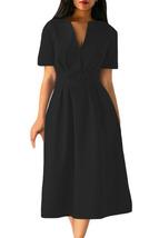 Black Split Neck Short Sleeve Midi Dress with Bowknots  - $29.71