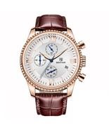 Benyar Men's Leather Chronograph Wrist Watch BY-5129M (Brown & Rose Gold) - $40.00
