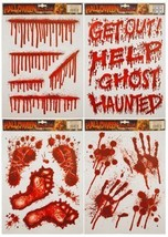 Halloween Window Stickers Decoration Scary Blood Hand Party Bloody Red D... - $2.53