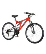 Mountain Bike Sports for Men Full Suspension Red 26 inch Wheels 18 inch ... - $177.99