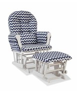 Nursery Glider Ottoman Set White Wooden Navy Blue Chevron Cushions Baby ... - $179.09