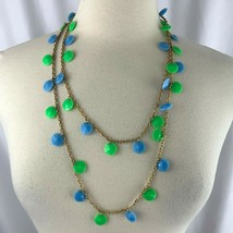 Extra Long Disc Bead Chain Necklace Vintage Gold Tone Blue Green Boho Mo... - £9.27 GBP