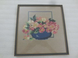 Framed & Glass Covered FLORAL BOUQUET IN BLUE BOWL NEEDLEPOINT Picture-1... - £24.24 GBP