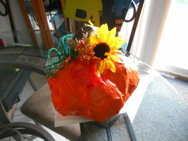 Handmade Fall Table Top Paper Mache Pumpkin - $15.00