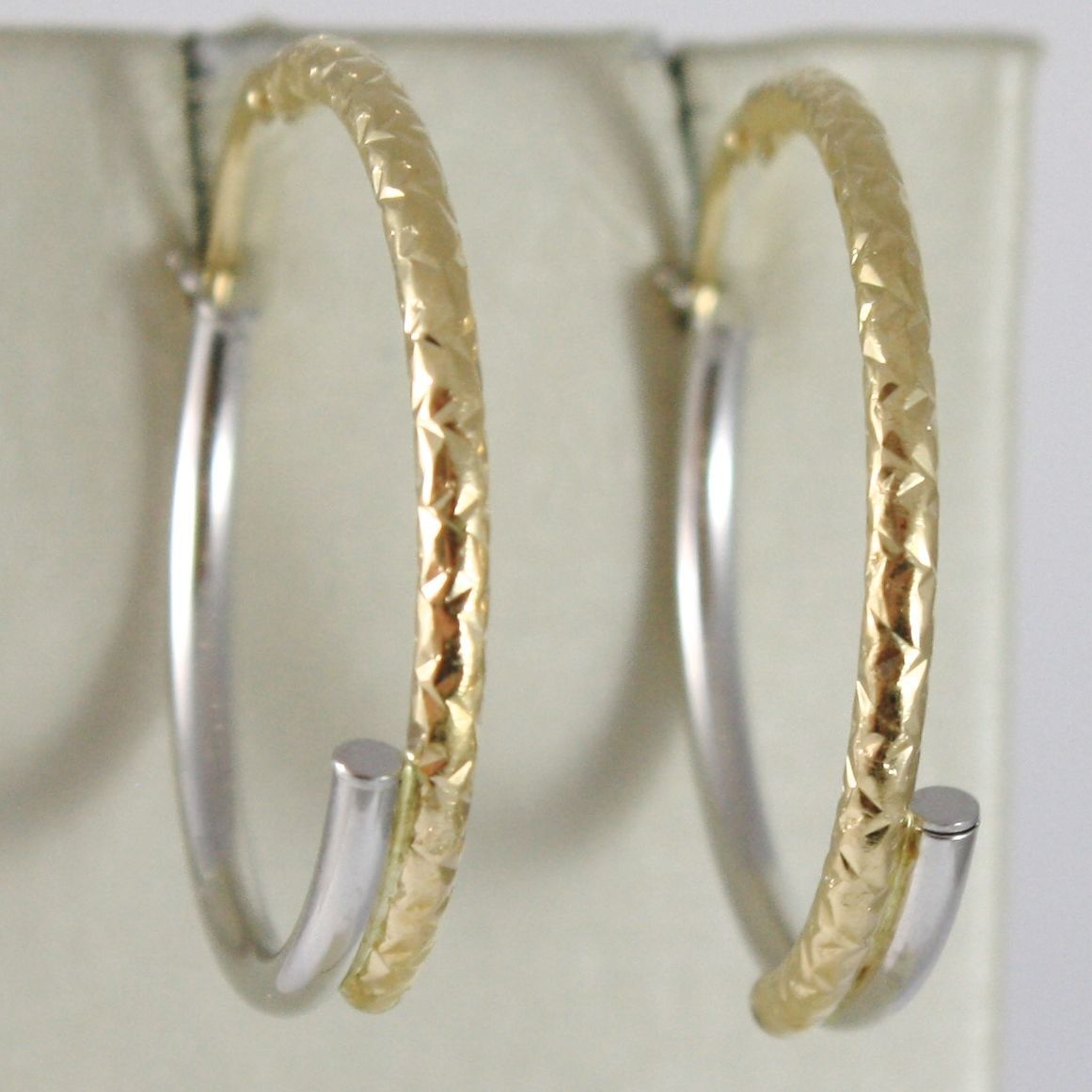 WHITE GOLD EARRINGS YELLOW 750 18K CIRCLE, SMOOTH AND HAMMERED, TUBE, ITALY