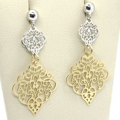 Drop Earrings Yellow and White Gold 750 18K, Double Rhombuses Worked