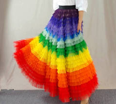 Adult Rainbow Tulle Skirt Long Colorful Rainbow Tutu Rainbow Costume High Waist  image 8