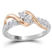 14kt White Gold Round Diamond 2-stone Bridal Wedding Engagement Ring 1/2... - £515.34 GBP