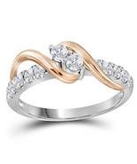 14kt White Gold Round Diamond 2-stone Bridal Wedding Engagement Ring 1/2... - £544.10 GBP