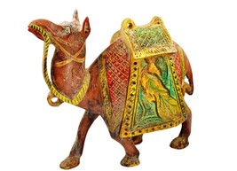 Antique Indian Handcrafted Wooden Camel Figurine Statue with Painted Hom... - $64.99