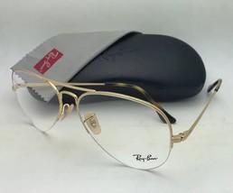 New RAY-BAN Eyeglasses RB 6589 2500 56-15 140 Aviator Semi Rimless Gold Frame