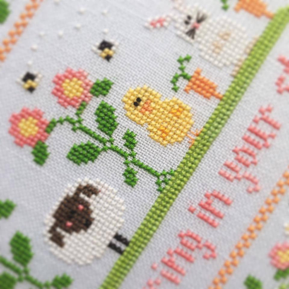 Spring In Your Step easter spring cross stitch chart Country Cottage Needleworks