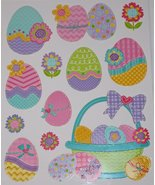 Nantucket Home Easter Basket Eggs and Flowers Glitter Vinyl Window Clings - $190,36 MXN