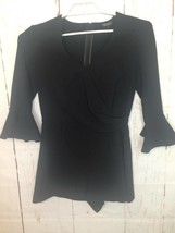 Topshop Womens Faux-Wrap Romper Black 3/4 Bell Sleeves Surplice Neck Bac... - $26.72