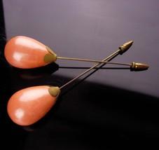 Antique pearl BIG Hatpins - pair of  huge setting teardrop faux pearl - ... - $85.00