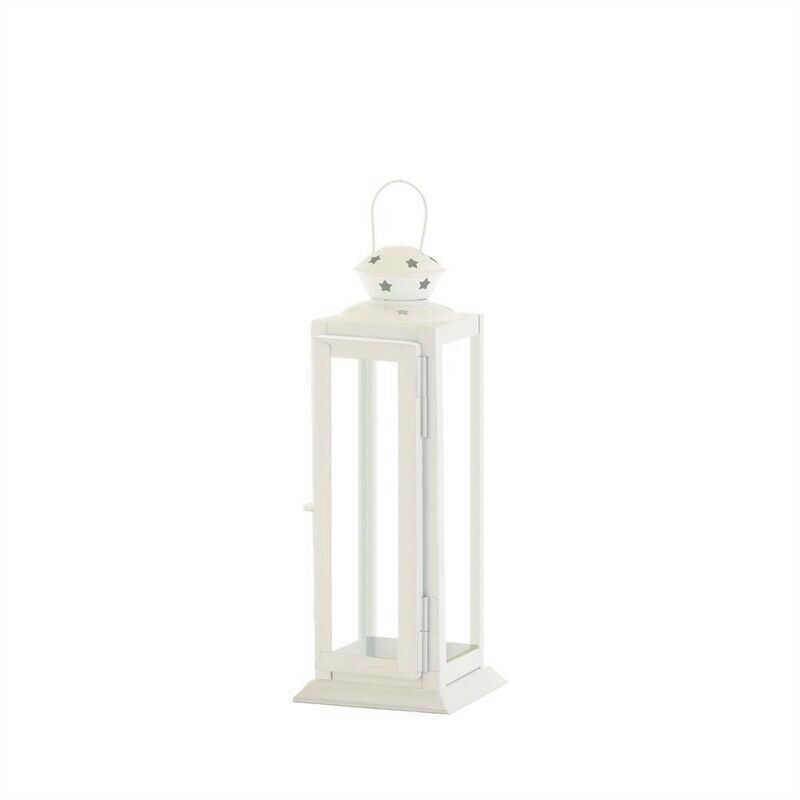 Small Cutout Stars Metal White Candle Lantern