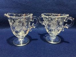 "Fostoria ""Bouquet"" etch creamer & sugar on century blank elegant glass e... - $14.84"