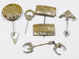 Vintge Antique Lot of 6 Victorian Rhinestones hat pin sticks - $28.51