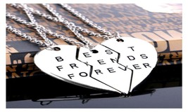 Sliver Broken Heart 3 Parts Best Friends Forever Necklaces & Pendant - $13.49