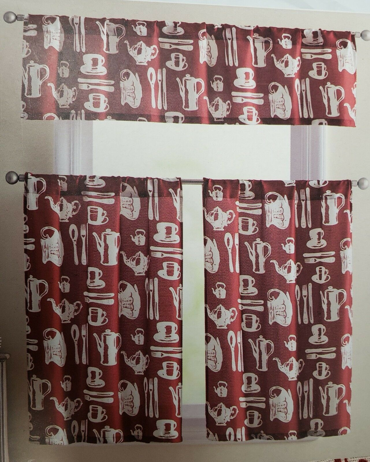 """3 pc. Curtains Set: Valance (60""""x14"""") & 2 Tiers (30""""x36"""") TEA CUP on RED, VC - $17.81"""