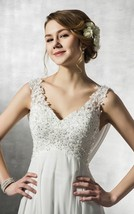 V Neck Open Back Sleeveless Button Long White Chiffon Lace Crystal Weddi... - $165.00