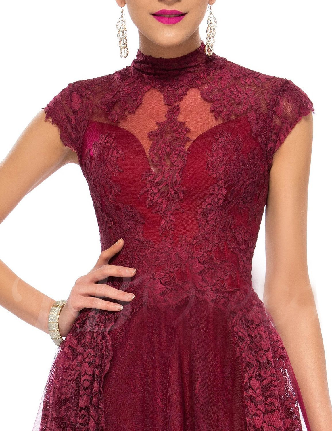 Women's A Line Lace Formal Evening Gown High Neck Party Dress Long Prom Dresses