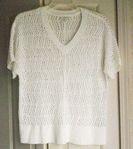 Sonoma Lifestyle White Loose Knit Crochet Sweater Large Short Sleeve V-Neck - $9.90