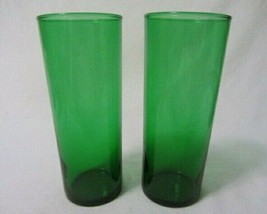 Anchor Hocking Forest Green Plain Straight Shell Glasses Set Of 2 U.S.A. - $8.99