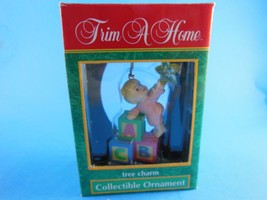 "NIB Christmas Ornament Baby with blocks Trim a Home collection 3.5""   - $7.91"