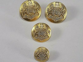 4 GOLD TONE Brass Blazer Dieu Et Mon Droit Buttons 20 22mm British Coat ... - $3.95