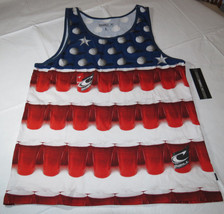 O'Neill Beer Pong Tank Mens L shirt tank top Solo Cups red white blue NWT - $23.40
