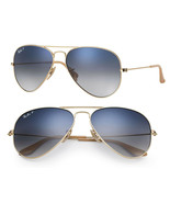 New Ray Ban Aviator RB3025 001/78 58mm Gold w/Blue Gradient Polarized - $142.05