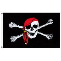 3X5 Jolly Roger Pirate Red Bandana Skull Crossbones Flag 3'x5' Banner US... - $18.00