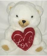 Hallmark Love Heart valentine Red Heart White Bear Plush Stuffed Gift Xoxo - $25.89