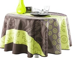 63-Inch Round Tablecloth Green and Brown Summer Flowers, Stain Resistant... - $32.60
