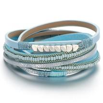 Amorcome Bohemian Leather Bracelets Boho Blue Black Beads Wide Wrap Brac... - $16.81