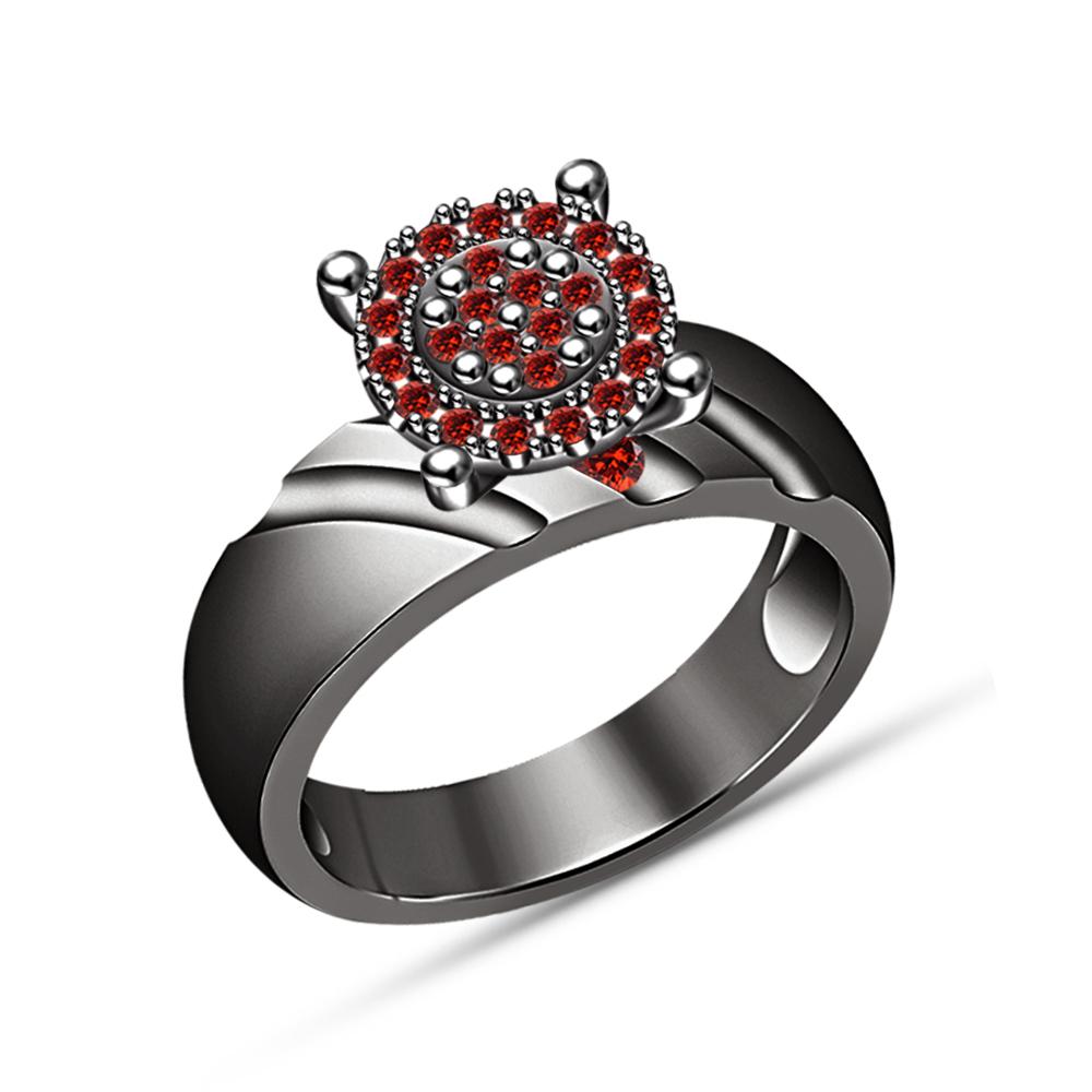 Round Cut Garnet 1.20CT Solitaire Bridal Set Engagement Ring 18K Black Gold Fn