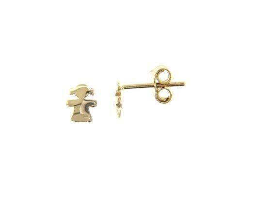 18K YELLOW GOLD EARRINGS SMALL FLAT GIRL, SHINY, SMOOTH, 5mm, MADE IN ITALY