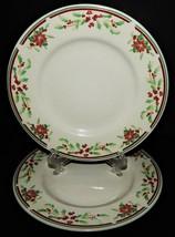 2 Majesticware Sakura Poinsettia Delight Christmas Holiday Salad Plates ... - $26.72