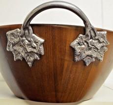"New 14 "" Acacia Wood server 3 piece bowl set with charming aluminum leaf handles - $103.95"