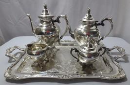 5 Piece Wm Rogers International Silver Tea~Coffee~Cream~Sugar Wait Tray - $250.00