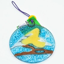 Goldfinch Yellow Finch Fused Art Glass Ornament Sun Catcher Handmade Ecuador image 2